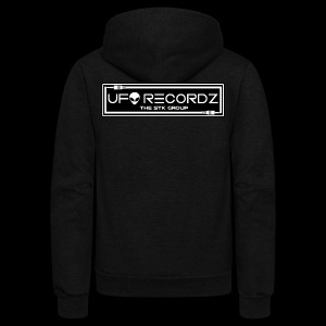 Black on White UFO Recordz - Unisex Fleece Zip Hoodie
