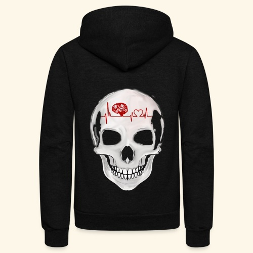 heart beating skull - Unisex Fleece Zip Hoodie