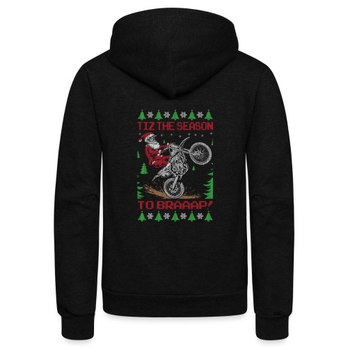 Dirt Bike Ugly Christmas - Unisex Fleece Zip Hoodie