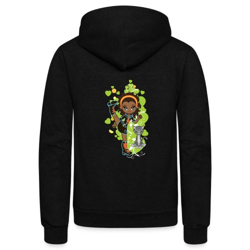 Aisha the African American Chibi Girl - Unisex Fleece Zip Hoodie