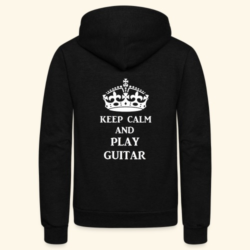 keep calm play guitar wht - Unisex Fleece Zip Hoodie
