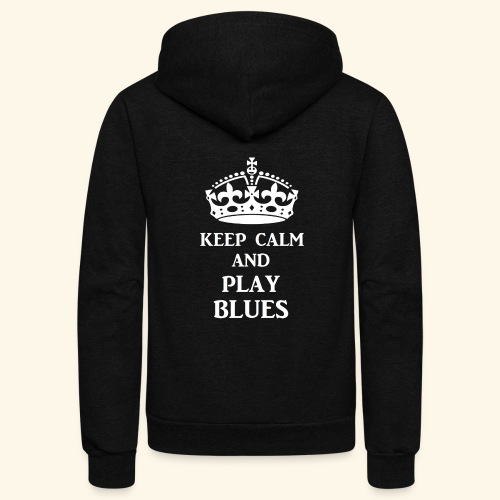 keep calm play blues wht - Unisex Fleece Zip Hoodie