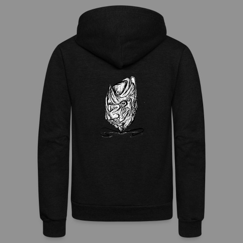 Wolfman Originals Black & White 12 - Unisex Fleece Zip Hoodie