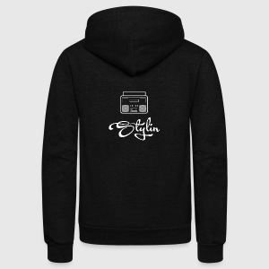 Stylin Oldskool Music Apparel White Logo - Unisex Fleece Zip Hoodie by American Apparel