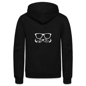 White Epic Nerd Logo - Unisex Fleece Zip Hoodie by American Apparel