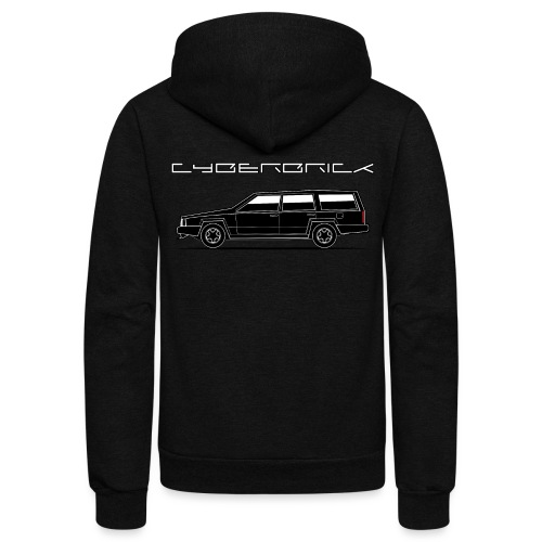 Cyberbrick Future Electric Wagon Black Outlines - Unisex Fleece Zip Hoodie