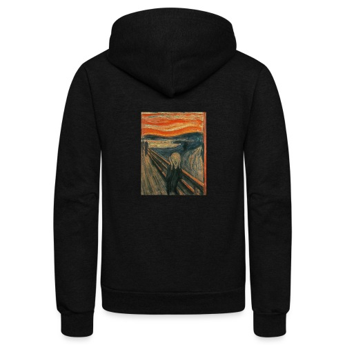 The Scream (Textured) by Edvard Munch - Unisex Fleece Zip Hoodie