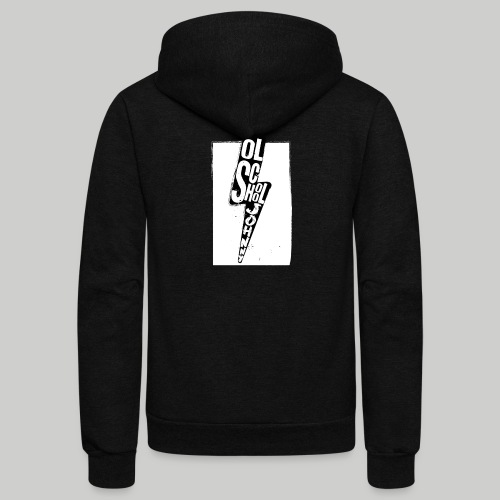 Ol' School Johnny Black and White Lightning Bolt - Unisex Fleece Zip Hoodie