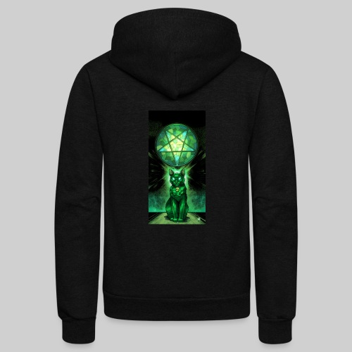 Green Satanic Cat and Pentagram Stained Glass - Unisex Fleece Zip Hoodie