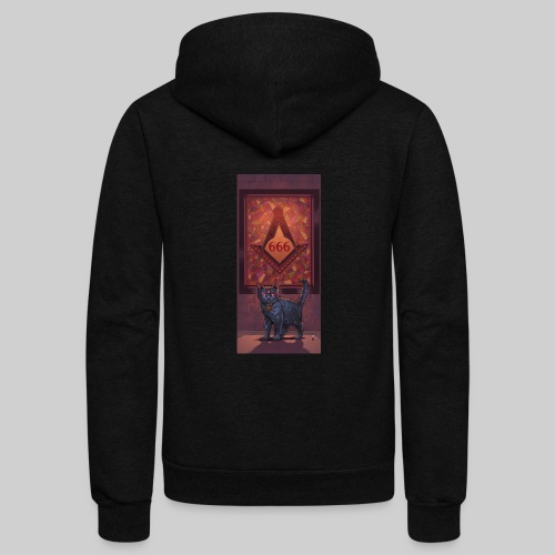 666 Three Eyed Satanic Kitten with Stained Glass - Unisex Fleece Zip Hoodie