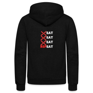 Eat, Eat, Eat, RepEAT - Unisex Fleece Zip Hoodie by American Apparel