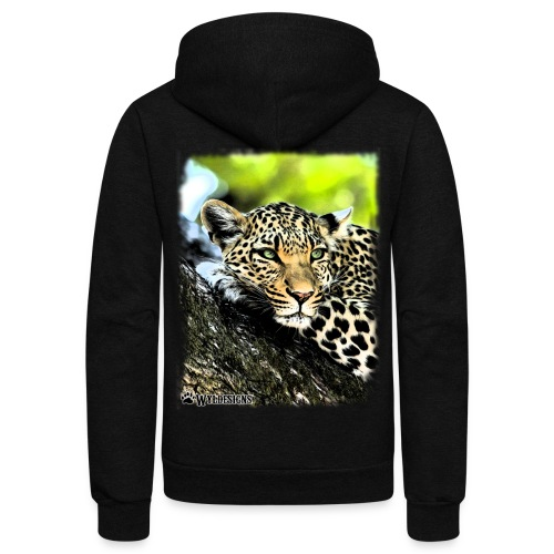 Leopard On A Tree - Unisex Fleece Zip Hoodie