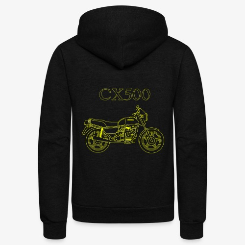 CX500 line drawing - Unisex Fleece Zip Hoodie