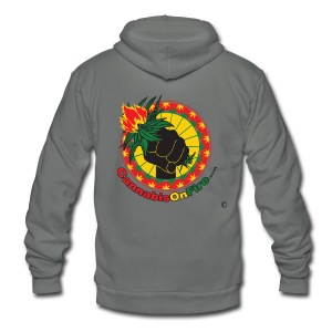 Cannabis On Fire 420 Power - Unisex Fleece Zip Hoodie by American Apparel