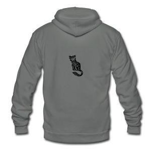 elegant-cat-with-bird-tattoo-design-5 - Unisex Fleece Zip Hoodie by American Apparel