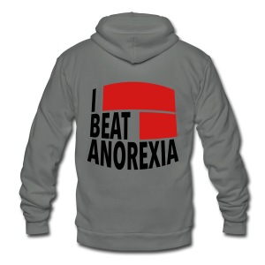 I Beat Anorexia - Unisex Fleece Zip Hoodie by American Apparel