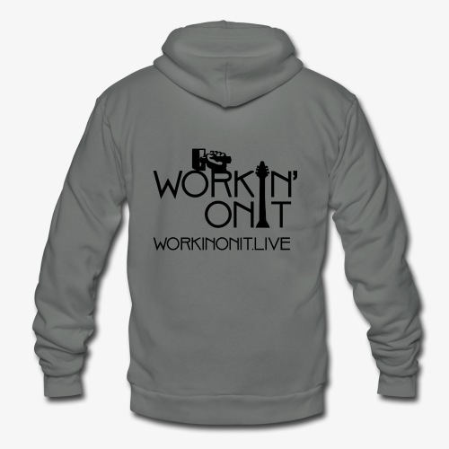 WORKIN' ON IT: BLACK LOGO - Unisex Fleece Zip Hoodie