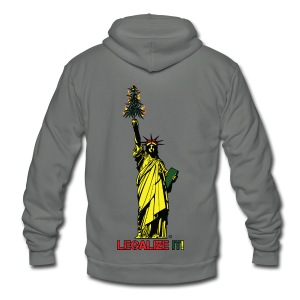 Cannabis of Liberty - Cannabis T-shirts, 420 wear - Unisex Fleece Zip Hoodie by American Apparel