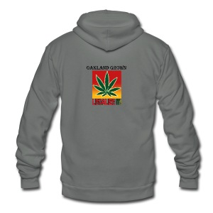Oakland Grown Legal Cannabis Tshirts 420 wear - Unisex Fleece Zip Hoodie by American Apparel