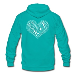 R+F White Heart - Unisex Fleece Zip Hoodie
