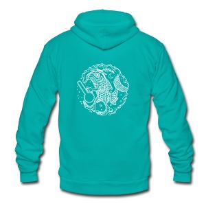 fishy white - Unisex Fleece Zip Hoodie