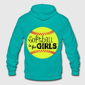 softball is for girls - Unisex Fleece Zip Hoodie by American Apparel