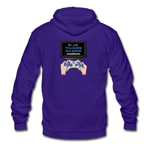 Blue Thumbs Gaming: Gamepad Logo - Unisex Fleece Zip Hoodie by American Apparel