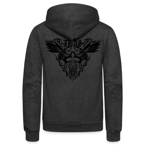 Vintage JHAS Tribal Skull Wings Illustration - Unisex Fleece Zip Hoodie