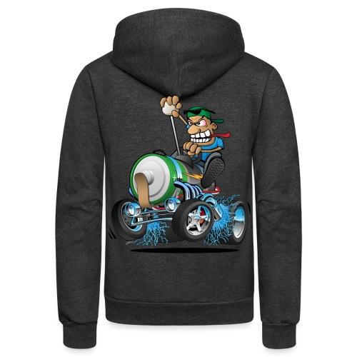 Hot Rod Electric Car Cartoon - Unisex Fleece Zip Hoodie