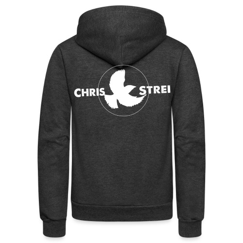 Chris Strei BlackBird Logo (white) - Unisex Fleece Zip Hoodie