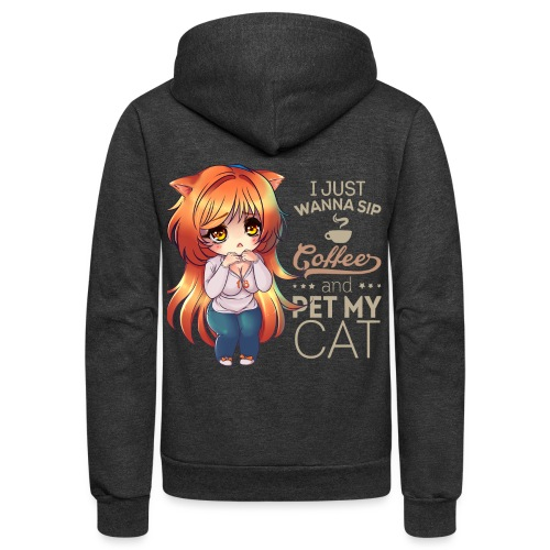 SIP COFFEE PET CAT - Unisex Fleece Zip Hoodie