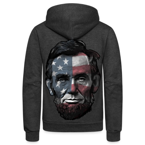 President Abraham Abe Lincoln with USA Flag - Unisex Fleece Zip Hoodie