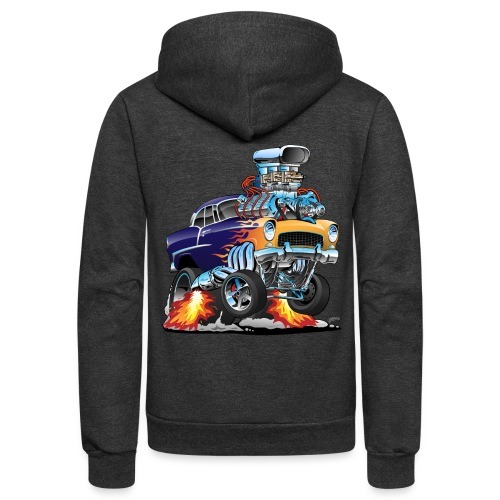 Classic Fifties Hot Rod Muscle Car Cartoon - Unisex Fleece Zip Hoodie