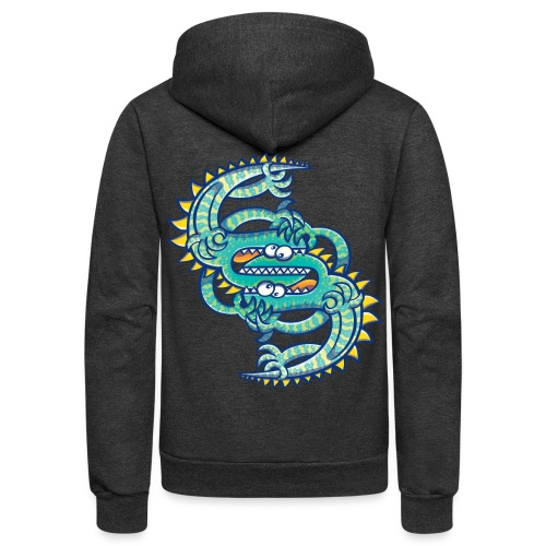 Two brave lizards facing off in a dangerous combat - Unisex Fleece Zip Hoodie