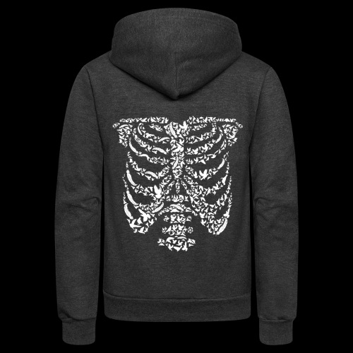 Ribcaged Bird | Halloween Bird Skeleton - Unisex Fleece Zip Hoodie