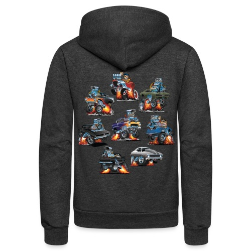 Car Crazy Classic Hot Rod Muscle Car Cartoons - Unisex Fleece Zip Hoodie