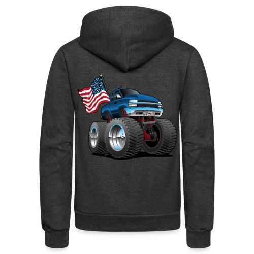 Monster Pickup Truck with USA Flag Cartoon - Unisex Fleece Zip Hoodie