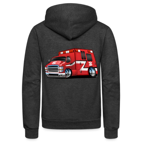 Paramedic EMT Ambulance Rescue Truck Cartoon - Unisex Fleece Zip Hoodie