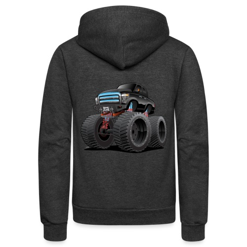 Monster Pickup Truck Cartoon - Unisex Fleece Zip Hoodie