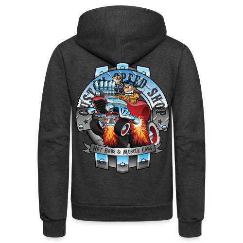Custom Speed Shop Hot Rods and Muscle Cars Illustr - Unisex Fleece Zip Hoodie