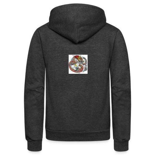 35330684 chinese dragon holding pearl tattoo illu - Unisex Fleece Zip Hoodie