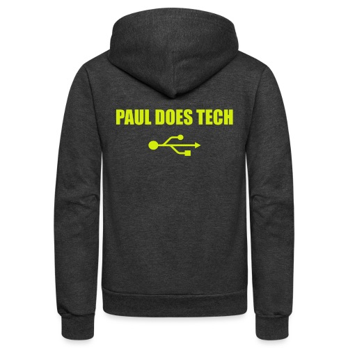 Paul Does Tech Yellow Logo With USB (MERCH) - Unisex Fleece Zip Hoodie