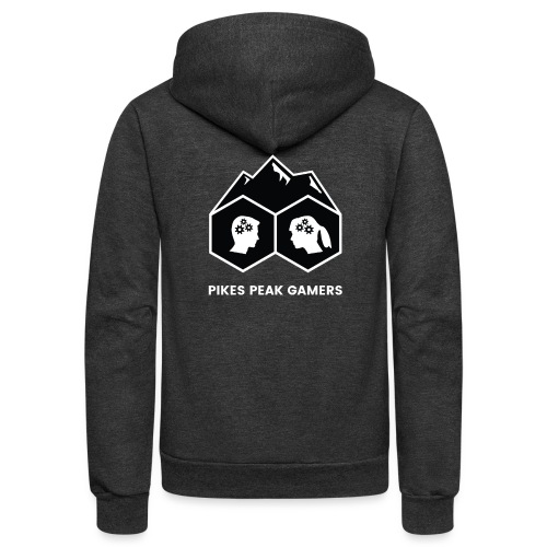 Pikes Peak Gamers Logo (Solid Black) - Unisex Fleece Zip Hoodie