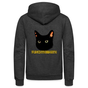 PunchTheEarth Cat with Text - Unisex Fleece Zip Hoodie