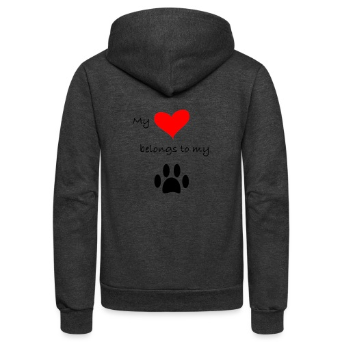 Dog Lovers shirt - My Heart Belongs to my Dog - Unisex Fleece Zip Hoodie