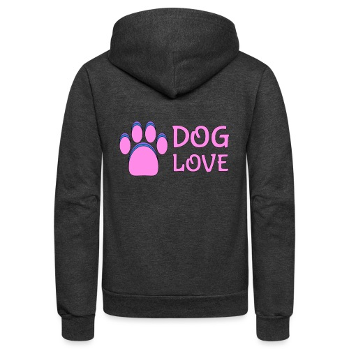 Pink Dog paw print Dog Love - Unisex Fleece Zip Hoodie