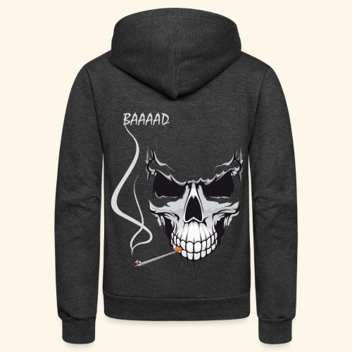 bad smoking skull long sleeve shirts - Unisex Fleece Zip Hoodie