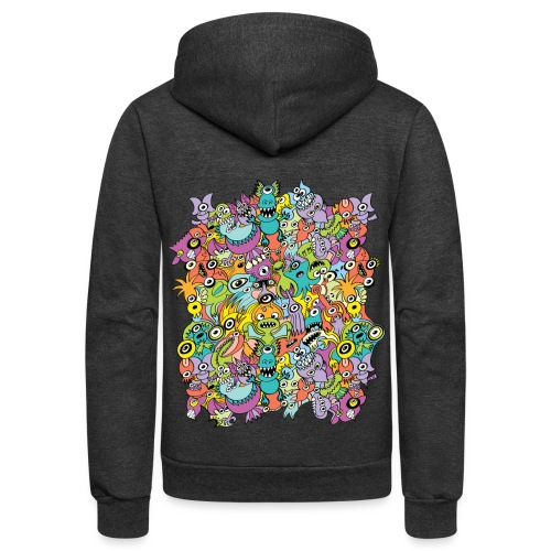 Aliens of the universe posing in a pattern design - Unisex Fleece Zip Hoodie