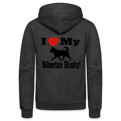 I Love my Siberian Husky - Unisex Fleece Zip Hoodie