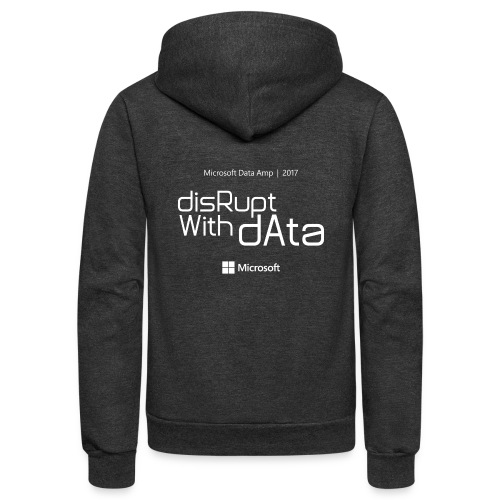 Disrupt with Data white on black or grey blue - Unisex Fleece Zip Hoodie